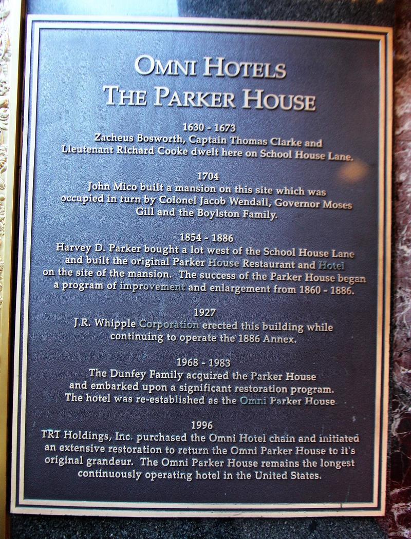 Omni Parker House plaque - Boston - History's Homes