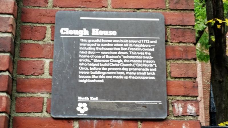 Clough House marker - Boston - History's Homes