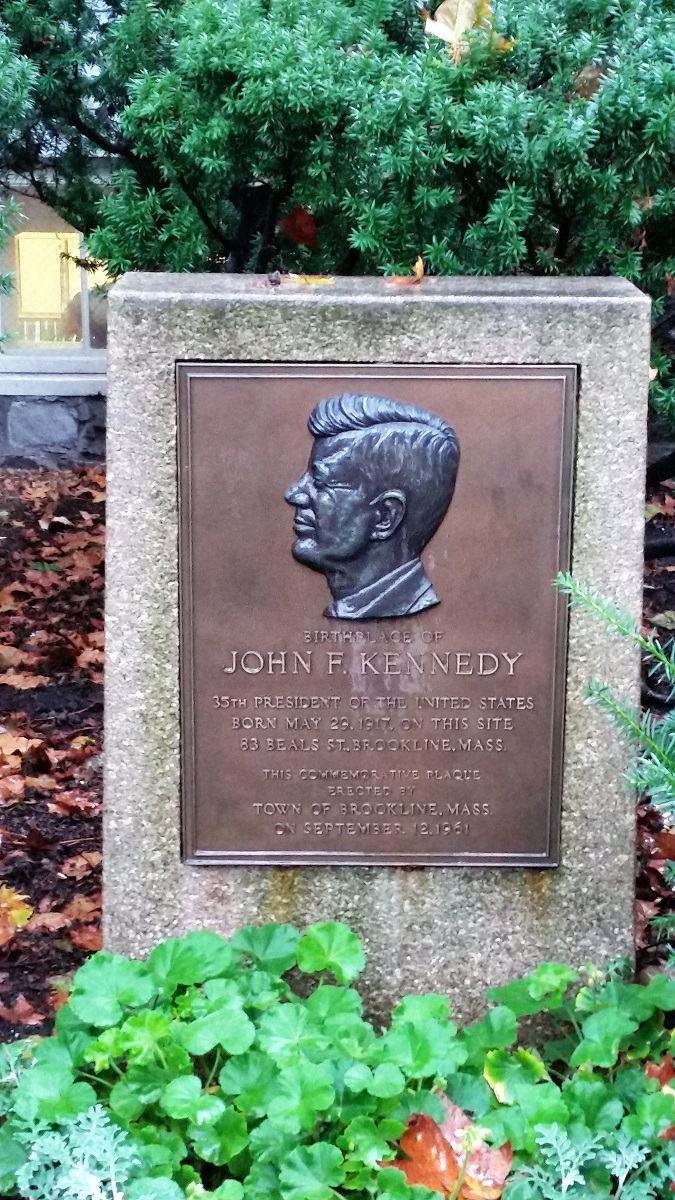 John F. Kennedy Birthplace marker - Brookline - History's Homes