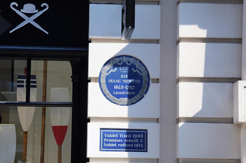 Sir Isaac Newton Home Site plaque - London - History's Homes