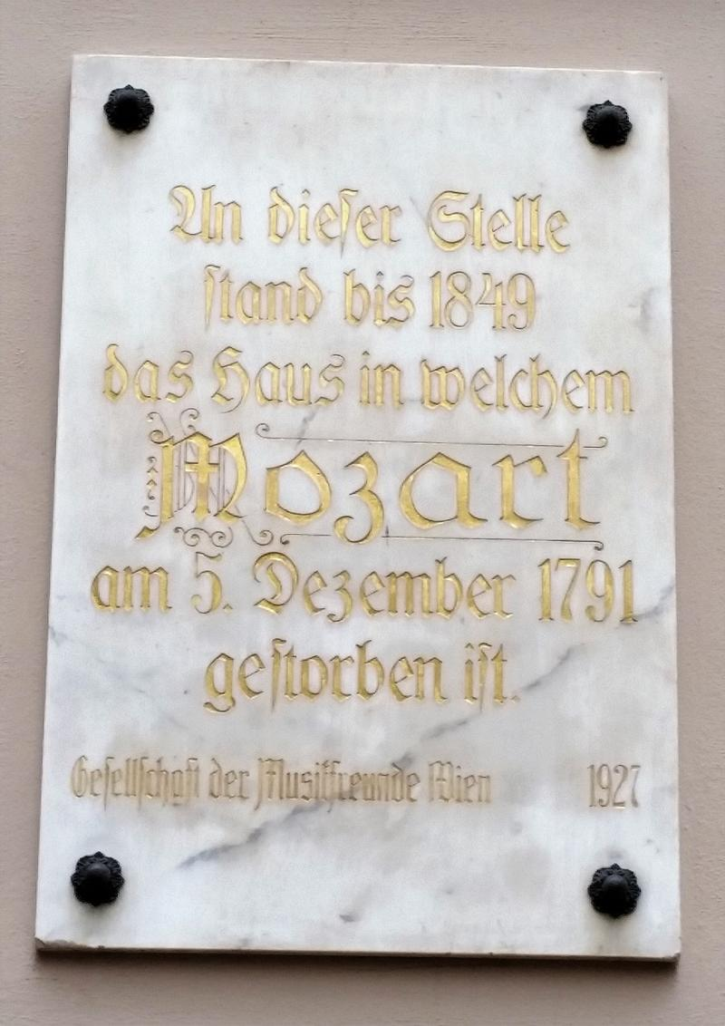 Mozart Death Site plaque - Vienna - History's Homes