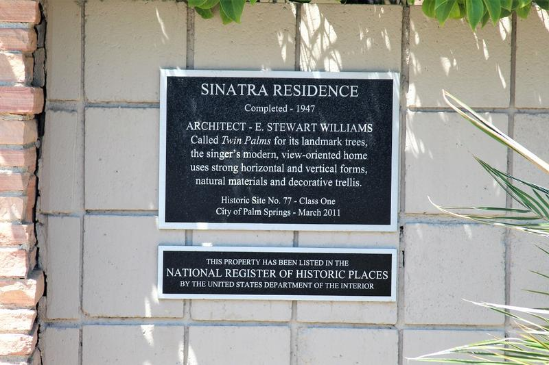 Frank Sinatra Home plaque - Palm Springs - History's Homes
