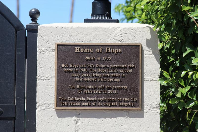 Bob Hope Home #2 plaque - Palm Springs
