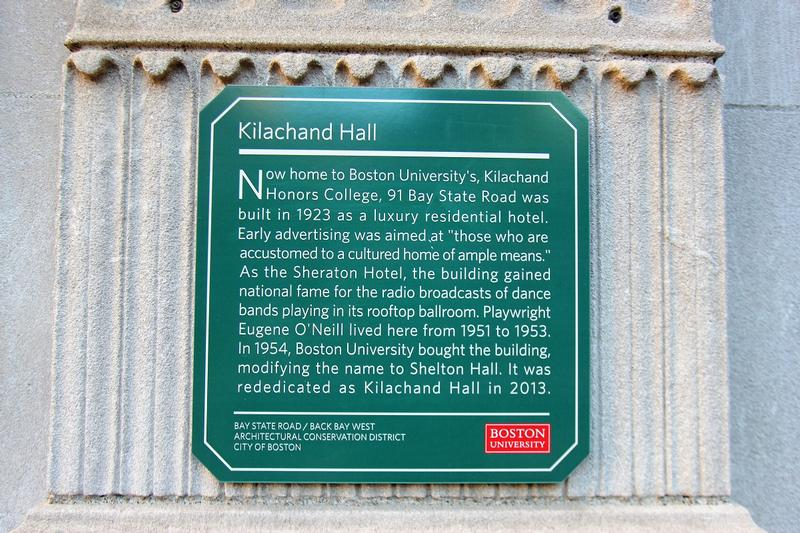 Kilachand Hall marker - Boston - History's Homes