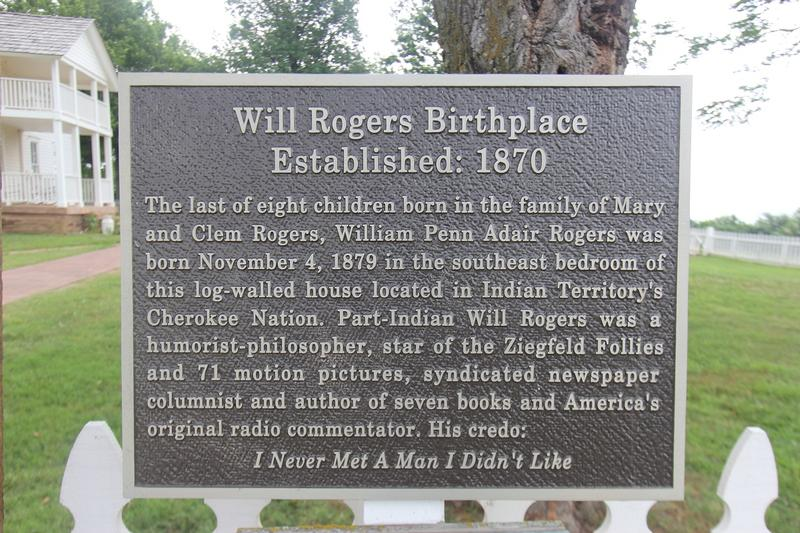 Wil lRogers Birthplace plaque - Oologah - History's Homes