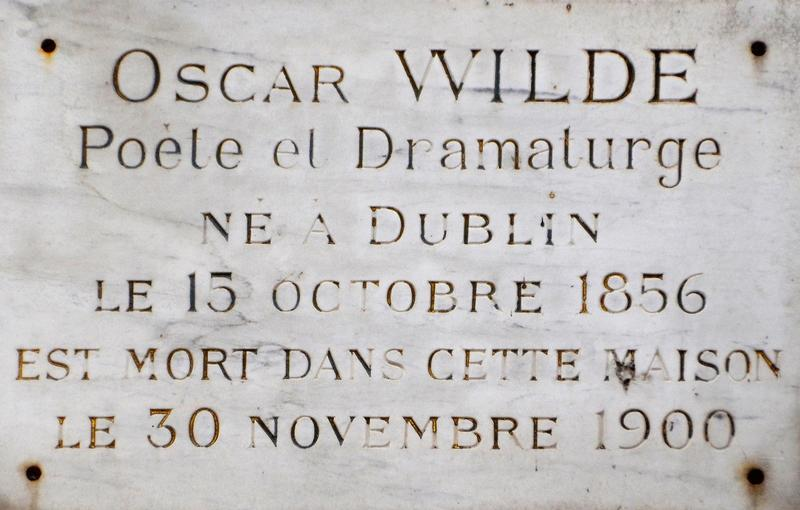 OScar Wilde plaque - Paris - History's Homes