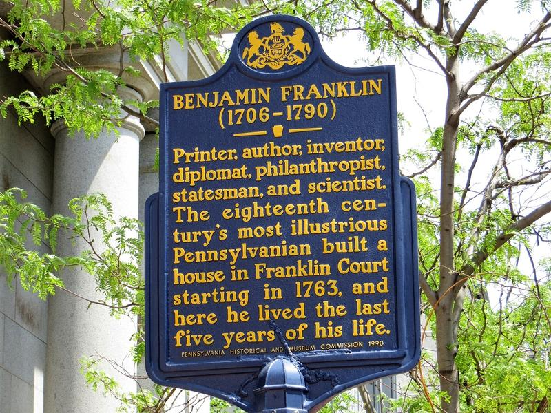 Benjamin Franklin marker - Philadelphia - History's Homes