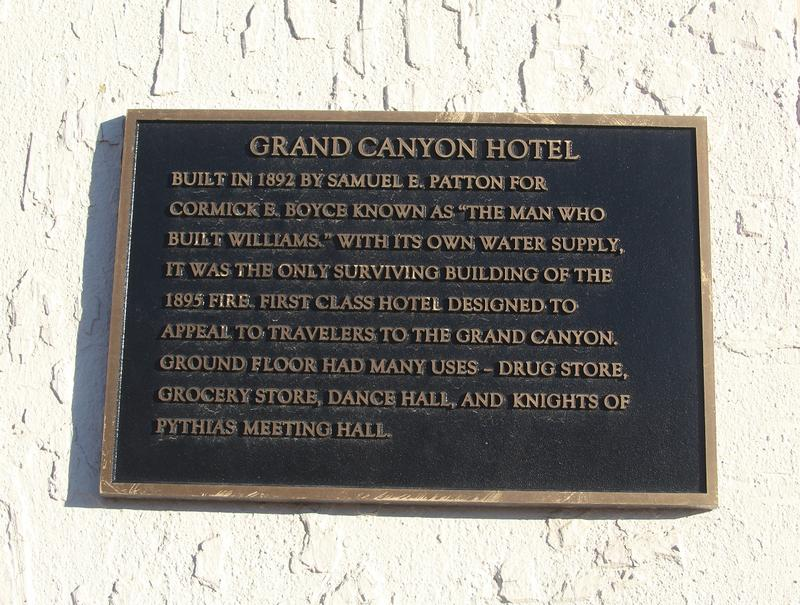 Grand Canyon Hotel plaque - Williams - History's Homes