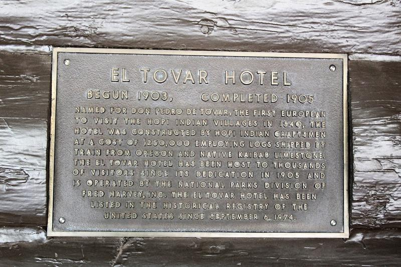 El Tovar Hotel plaque - Grand Canyon - History's Homes