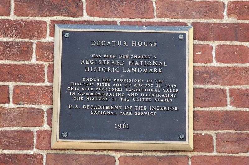 Decatur House plaque #1 - Washington, D.C. - History's Homes