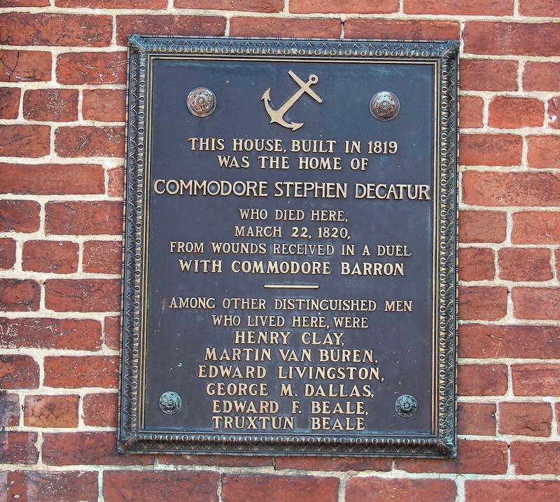 Decatur House plaque #2 - Washington, D.C. - History's Homes