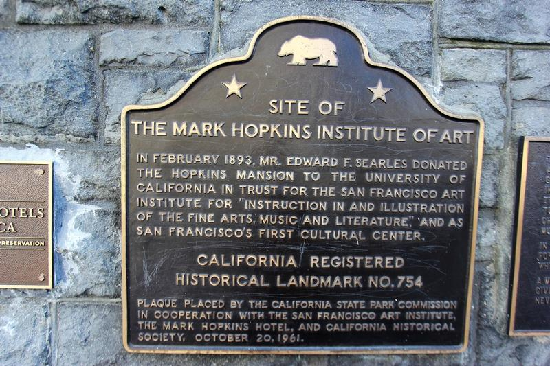 Mark Hopkins Institute plaque - San Francisco - History's Homes