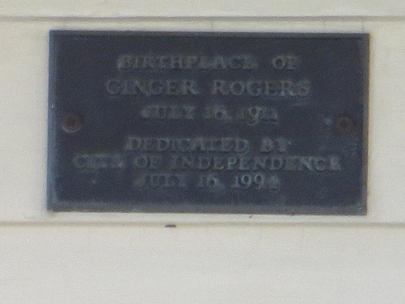Ginger Rogers Birthplace plaque - MO - History's Homes