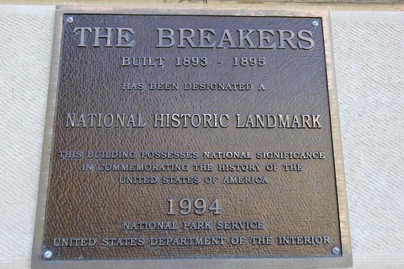 The Breakers plaque - Newport - History's Homes