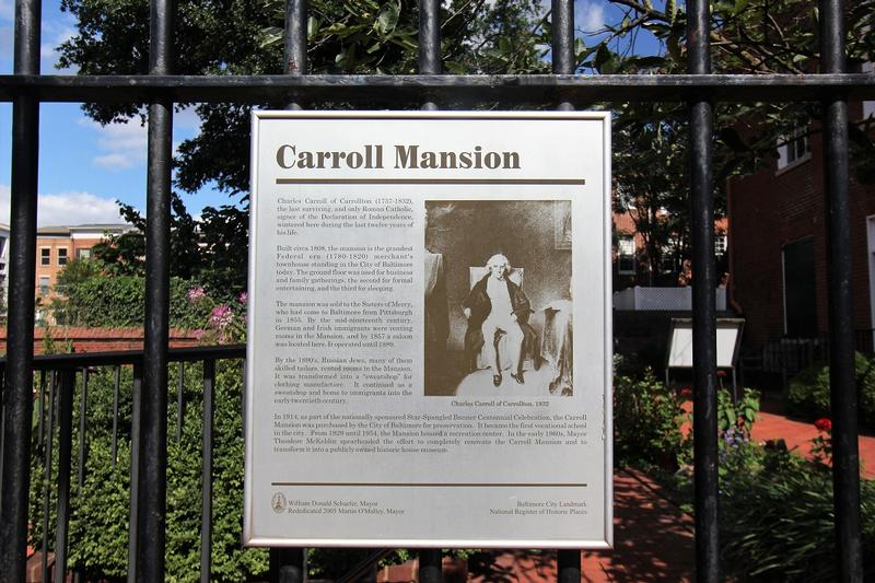 Carroll Mansion marker - Baltimore - History's Homes