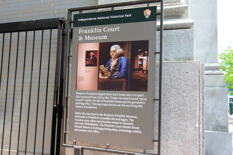 Franklin Court sign - Philadelphia - History's Homes