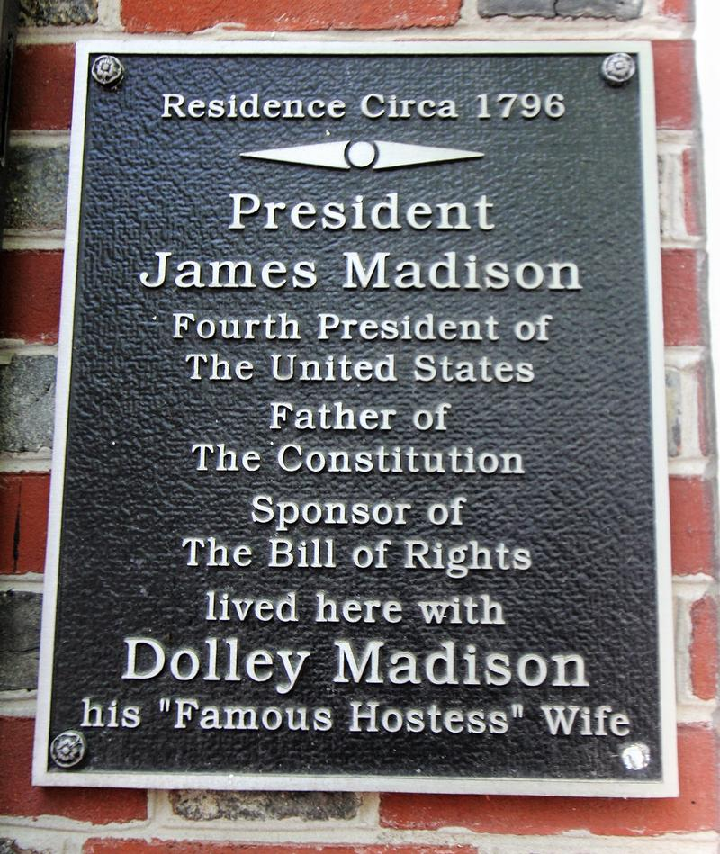 James Madison Home plaque - Philadelphia - History's Homes